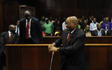 FILE: Former President Jacob Zuma in the dock at the Durban High Court on 6 April 2018. Picture: Felix Dlangamandla/Pool Photo.