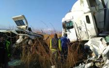ER24 paramedics and other services inspecting the scene of a deadly accident near Machadodorp. Picture: ER24