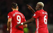 Manchester United's Zlatan Ibrahimovic celebrates with Paul Pogba. Picture: Facebook.com