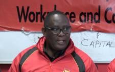 FILE: Saftu President Zwelinzima Vavi at the 10111 call centre strike. Picture: EWN