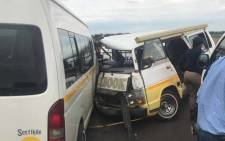 Authorities at the scene of an accident involving two taxis on the R28 between Westonaria and Poortjie in the west of Joburg. Picture: Arrive Alive.