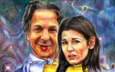 A painting by D Udaiyan depicting Charles Saatchi throttling ex-wife Nigella Lawson. Picture: www.saatchiart.com