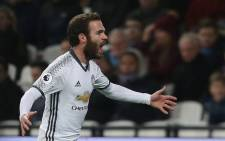 Manchester United's Juan Mata celebrates his goal against West Ham United in the English Premier League on 2 January 2017. Picture: Facebook.