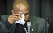 Nelson Mandela Foundation CEO Sello Hatang breaks down during the press conference about Gugu Zulu's death. Picture: Thomas Holder/EWN.