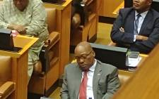 President Jacob Zuma naps during Finance Minister Malusi Gigaba's address. Picture: Twitter.