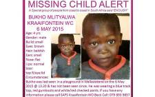 Four-year-old Bukho Mlityalwa went missing on 6 May 2015 at a playground in Wallacedene. Picture: Pinkladies.org.za