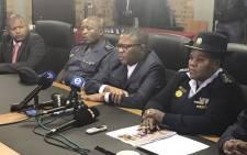 Police Minister Fikile Mbalula and Gauteng police commissioner Deliwe de Lange in Eldorado Park. Picture: Hitekani Magwedze/EWN