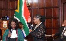 Newly appointed Minister of Communications Ayanda Dlodlo being sworn in. Picture: Chista Eybers/EWN.