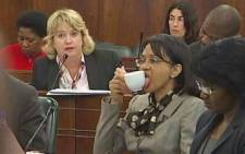 Energy Minister Tina Joemat-Pettersson licking her tea cup. Picture: Twitter.