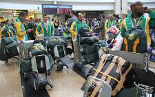 South Africa's National Men's Hockey Team at OR Tambo International Airport. Picture: Taurai Maduna/EWN