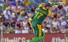 FILE:  AB de Villiers bats during the second one-day international (ODI) cricket match of the series between Australia and South Africa in Perth on 16 November 2014. Picture: AFP.