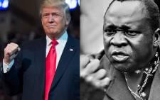 US President Donald Trump and President of Uganda Idi Amin Dada. Picture: AFP.