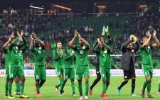 FILE: Nigeria's players celebrate after an international friendly football match between Argentina and Nigeria in Krasnodar on 14 November 2017. Picture: AFP.
