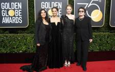 (L-R) Actors America Ferrera, Natalie Portman, Emma Stone, and former tennis player Billie Jean King attend The 75th Annual Golden Globe Awards at The Beverly Hilton Hotel on 7 January, 2018 in Beverly Hills, California. Picture: AFP