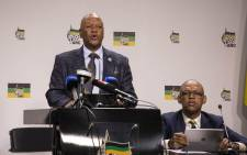 The ANC's Jeff Radebe is seen as he addresses the media on the release of the ANC's 54th conference resolutions at Luthuli House. Picture: IHSAAN HAFFEJEE/EWN