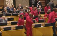 The Economic Freedom Fighters refused to be addressed by Malusi Gigaba and have since staged a walk-out on 25 October 2017 during the medium term budget. Picture: Screengrab