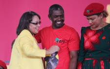 Cape Town Mayor Patricia de Lille (left) arrives at the EFF's memorial service for Winnie Madikizela-Mandela in Brandfort. Picture: Christa Eybers/EWN