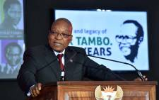 President Jacob Zuma gives an address following unveiling of a statue of former ANC leader OR Tambo on 19 October 2017. Picture: GCIS