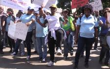 Police reservists march through the streets of Pretoria, they are demanding permanent employment, Thursday 20 May 2015. Picture: Vumani Mkhize/EWN.