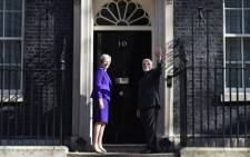 British PM Theresa May and Narendra Modi outside 10 Downing Street during a visit to London by the Indian Prime Minister. Picture: @narendramodi/Twitter.