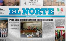 Mexican newspaper 'El Norte'. Picture: Facebook.