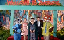 Singer Shakira and actors Ginnifer Goodwin and Jason Bateman pose with Nick Wilde and Judy Hopps characters during the Los Angeles premiere of Walt Disney Animation Studios' 'Zootopia' on February 17, 2016 in Hollywood, California. Picture: Zootopia official Facebook page.