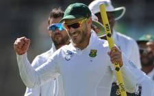 Proteas star Faf du Plessis celebrates a victory. Picture: AFP