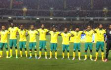 Bafana Bafana players line-up to sing the national anthem ahead of their international friendly against Costa Rica. Picture: Safa.