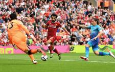 Arsenal goalkeeper Petr Cech makes a save from Liverpool winger Mo Salah during their English Premier League match at Anfield on 27 August 2017. Picture: @Arsenal/Twitter