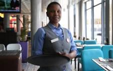 Zanele Bulose, one of the hearing impaired staff at the Park Inn by Radisson Blu. Photo: Bertram Malgas/EWN
