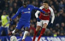 Chelsea's N'golo Kante (left) vies for the  ball with Arsenal's Alexis Sanchez during their League Cup clash at Stamford Bridge, London on 10 January, 2018. Picture: @ChelseaFC/Twitter
