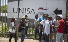 Students outside the Unisa Sunnyside campus in Pretoria following chaos that erupted on 15 January 2018. Picture: Ihsaan Haffejee/EWN