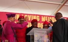 Church leaders praying for the EFF leadership ahead of the start of the memorial for Winnie Madikizela-Mandela in the Free State. Picture: Christa Eybers/EWN.