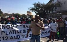 The march to the JSE by the Local Mining Communities Business Forum underway in Sandton on 28 June 2017. Picture: Katleho Sekhotho/EWN