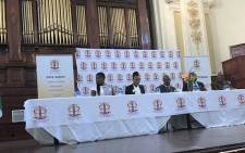 Public Protector Busisiwe Mkhwebane, second from left, speaking during her first public Stakeholder Forum at the Johannesburg City Hall. Picture: Clement Manyathela/EWN.