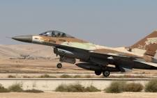 An Israeli F-16 fighter jet takes off at the Nevatim air force base near the southern Israeli city of Beersheva. Picture: AFP