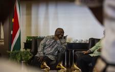President Cyril Ramaphosa meets with Grammy Award winning group Ladysmith Black Mambazo. Picture: Kayleen Morgan/EWN