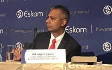FILE: Anoj Singh, CFO Eskom (right) briefs media on 2016 results on 19 July 2017. Picture: Kgothatso Mogale/EWN.