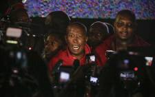 EFF leader Julius Malema after being ejected from Parliament. Picture: AFP