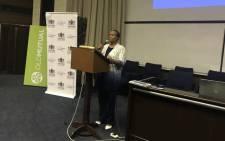 Gauteng Health MEC Gwen Ramokgopa addressing people at Charlotte Maxeke Academic Hospital. Picture: Masego Rahlaga/EWN.
