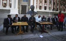 Leaders of various opposition parties hold a briefing outside Parliament on the motion of no confidence in President Jacob Zuma, which Baleka Mbete has decided will be held by secret ballot. Picture: Moeketsi Moticoe/EWN