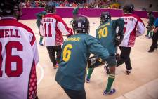 The South African Special Olympics 2017 floor hockey team takes on Team Canada-West. Picture: Thomas Holder/EWN.