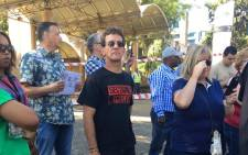 Section 27's Mark Heywood (in black) joins SABC staff affiliated to Bemawu in the strike over salary increase at the public broadcaster on 2 November 2017. Picture: Mia Lindeque/EWN