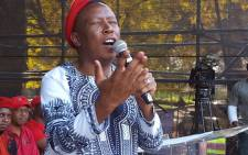 EFF leader Julius Malema addresses the crowd during Africa Day celebrations in Joubert Park, Johannesburg. Picture: Louise McAuliffe/EWN.