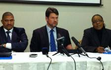 Marius Fransman, Andries Nel and Nonkululeko Sindane at the Chapter 9 briefing on 11 June 2012. Picture: Andrea van Wyk/EWN