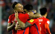 Chile players celebrate after beating Ecuador 2-1 on 5 October 2017. Picture: @FIFAWorldCup.