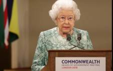 Britain's Queen Elizabeth II speaks at the formal opening of the Commonwealth Heads of Government Meeting at Buckingham Palace in London on 19 April 2018. Picture: AFP
