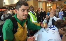 SA Paralympic athlete Fanie Van Der Merwe engaging the crowd before heading to Rio. Picture: Kevin Brandt/EWN.