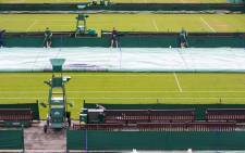Light rain at the All England Club has caused a delay to the start of matches on outside courts. Picture: Twitter/@Wimbledon