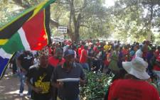 Anti-corruption marchers gathering at Burger Park, singing and dancing while they wait for direction on 30 September 2015. Picture: Kgothatso Mogale/EWN.